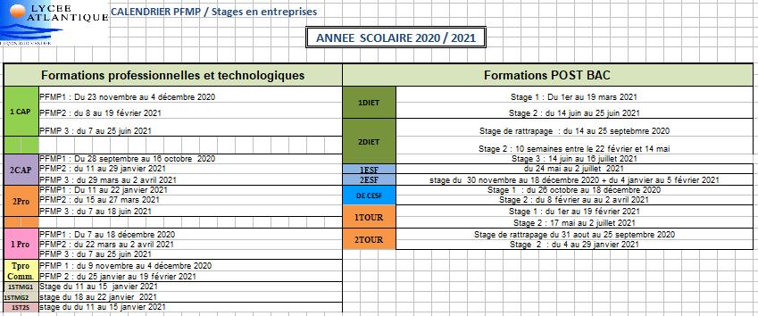Les dates des stages 2020/2021 (MAJ le 28/08/20) | Lycée Atlantique